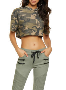 Camo Cropped Hooded Top - 3402061354203