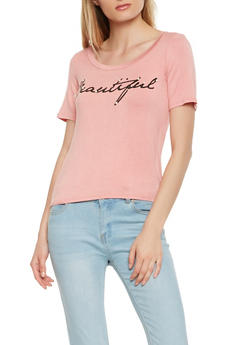 Faux Pearl Studded Graphic Tee - 3402061354577