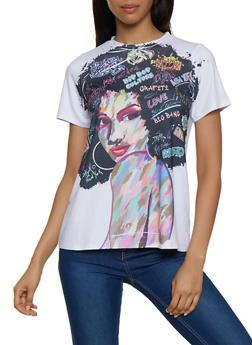 Afro Girl Graffiti Graphic Tee - 3402061355236