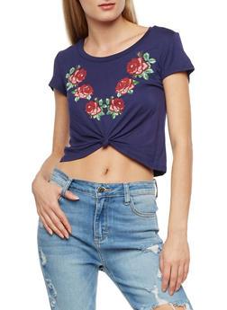 Rose Graphic Tie Front Crop Top - 3402061355714