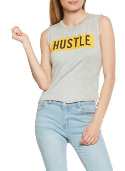 Hustle Graphic Tank Top - 3402061356541