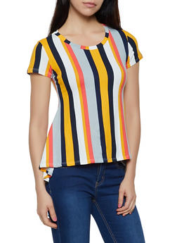 Striped High Low Tee - 3402061356963