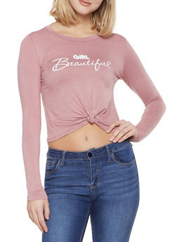 Girl Beautiful Tie Front Tee - 3402061357784