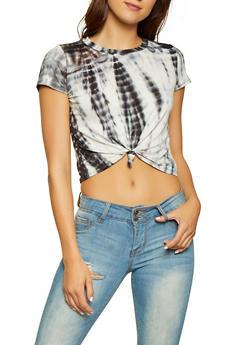 Tie Dye Knot Front Crop Top - 3402061357980