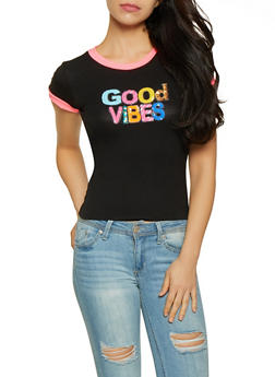 Good Vibes Sequin Graphic Tee - 3402061358480