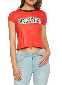 Vacation Graphic Tie Front Tee - 3402061358782