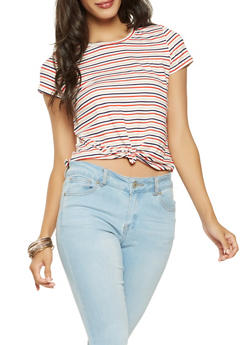 Striped Tie Front Tee - 3402061358878