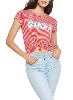 Vibes Graphic Striped Tee - 3402061358888