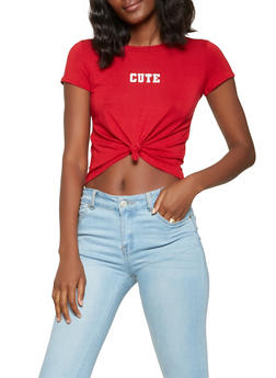 Cute Graphic Tie Front Tee - 3402061359243