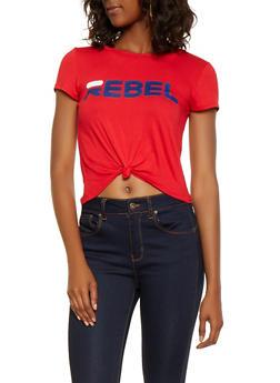Rebel Graphic Tie Front Tee - 3402061359711