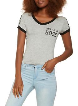 Boss Graphic V Neck Tee - 3402062702359