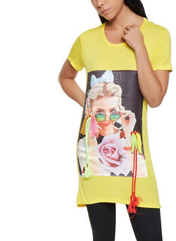 Graphic Patch Tunic Tee - 3402062702508