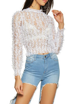Knotted Mesh Fringe Top - 3402062702742