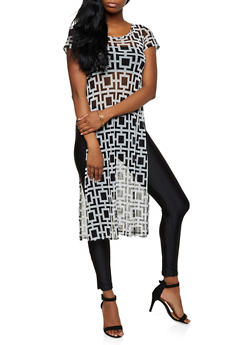 Side Slit Printed Mesh Maxi Top - 3402063402977