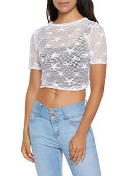 Star Fishnet Tie Front Tee - 3402063407564