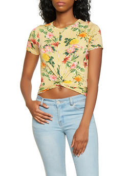 Striped Floral Twist Front Tee - 3402066490290