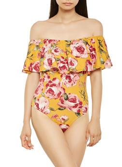 Floral Off the Shoulder Soft Knit Bodysuit - 3402066491500