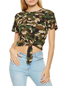 Camo Tie Front Cropped Tee - 3402066491859