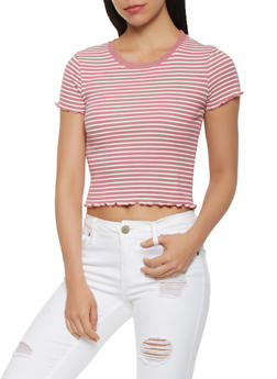 Striped Lettuce Trim Tee - 3402066492159