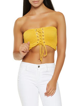 Smocked Lace Up Tube Top - 3402066492326