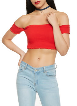 Lettuce Trim Off the Shoulder Crop Top - 3402066492411