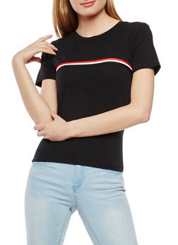 Striped Ribbon Trim Tee - 3402066492601