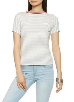 Ribbon Trim Striped Tee - 3402066492729