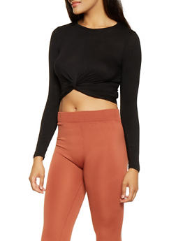 Twist Front Long Sleeve Cropped Top - 3402066493076