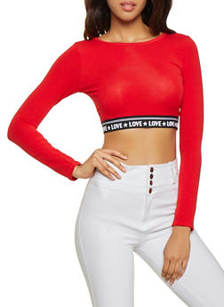 Love Graphic Elastic Band Crop Top - 3402066493220