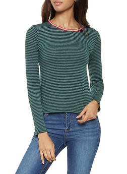 Striped Contrast Trim Tee - 3402066493272