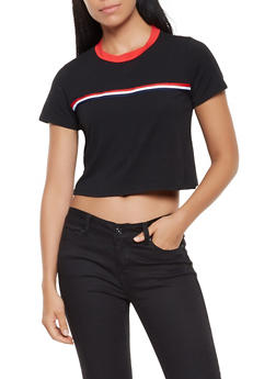 Striped Tape Detail Cropped Tee - 3402066493320