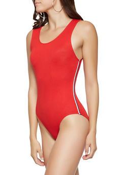 Striped Knit Trim Bodysuit - 3402066494390