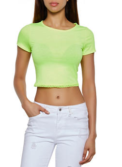 Neon Lace Trim Cropped Tee - 3402066495814
