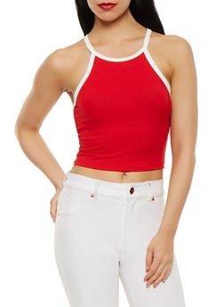 Contrast Trim Ribbed Knit Crop Top - 3402066496450