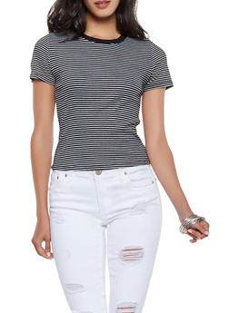 Striped Ribbed Knit Tee - 3402066498776