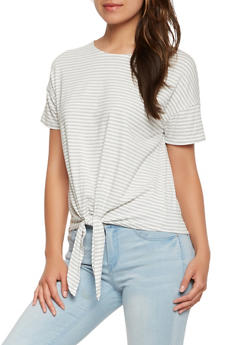 Striped Tie Front Tee - 3402066498955
