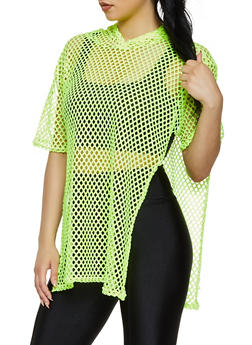 Hooded Fishnet Top - 3402068514225