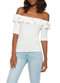 Ruffle Trim Off the Shoulder Top - 3402069390030