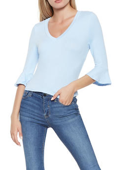 Soft Knit Bell Sleeve Top - 3402069390033