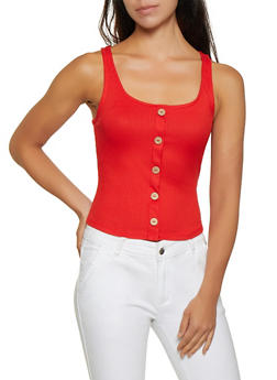 Button Detail Rib Knit Tank Top - 3402069390066