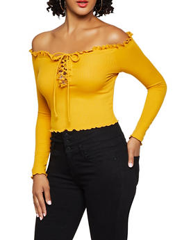 Off the Shoulder Lace Up Crop Top - 3402069390095