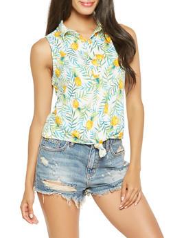 Pineapple Print Tie Front Top - 3402069390181