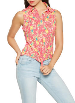 Pineapple Print Tie Front Top - 3402069390181