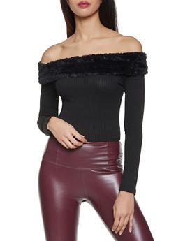 Faux Fur Trim Off the Shoulder Crop Top - 3402069390248