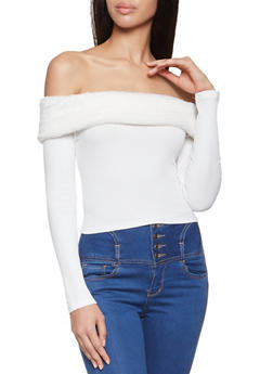 Faux Fur Trim Off the Shoulder Crop Top - 3402069390248