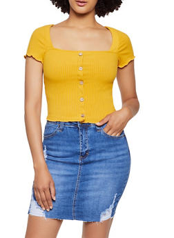 Ribbed Lettuce Edge Top - 3402069390254