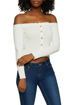 Ribbed Off the Shoulder Lettuce Edge Top - 3402069390256