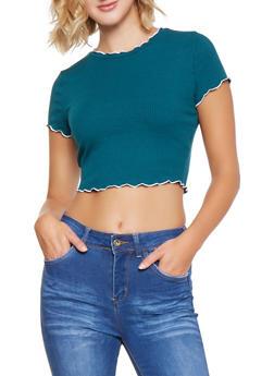 Rib Knit Contrast Trim Tee - 3402069390301