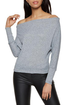 Off the Shoulder Dolman Sleeve Sweater - 3402069390311
