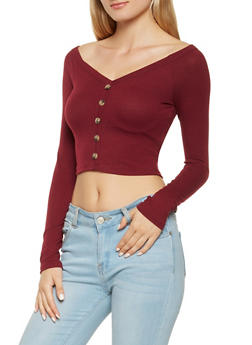 Ribbed Knit Cropped Off the Shoulder Top - 3402069390474